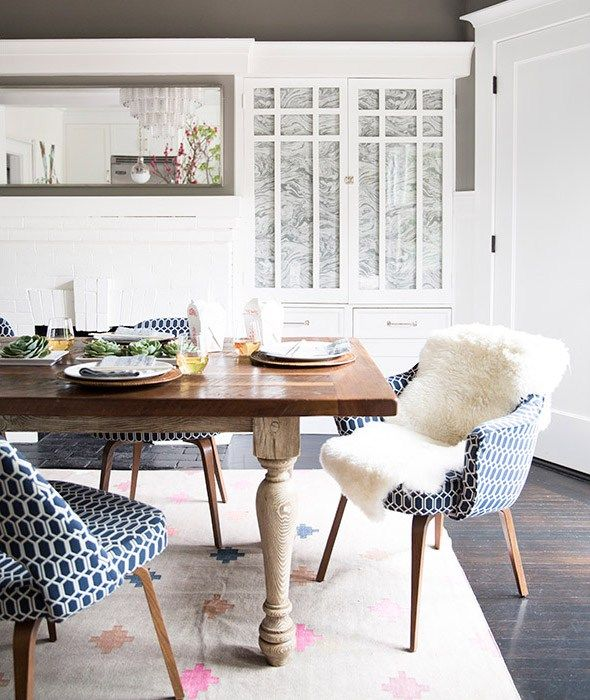 Navy, Wood and Grey Dining Room Designed by Grant K. Gibson at grantkgibson.com