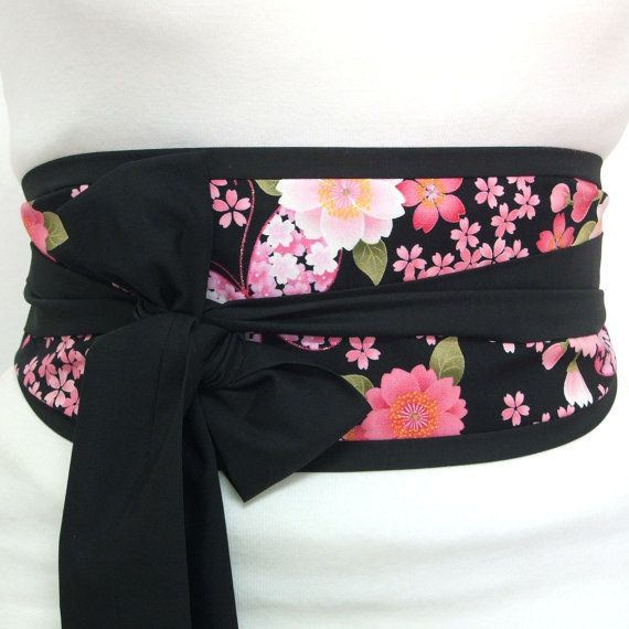 Obi belt 'Japanese cherry blossom butterfly' by loobyloucrafts ... Spring blossom flowers and butterflies