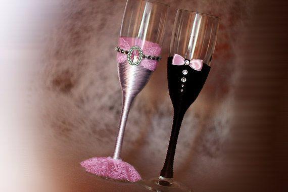 Bruiloft champagneglazen bril bril rustieke bruiloft bruid en