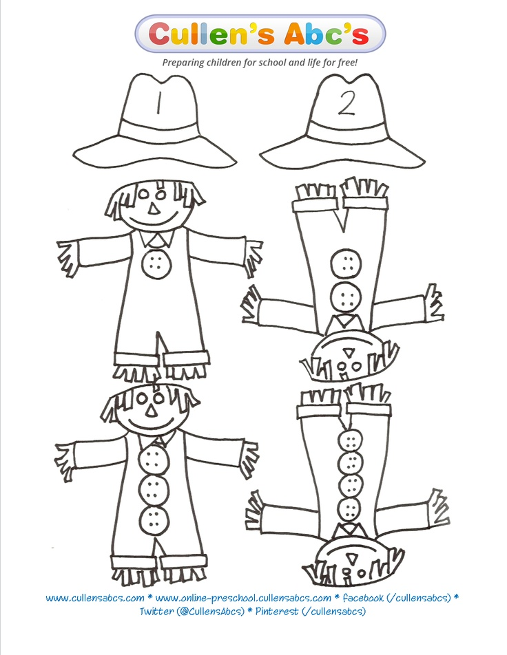 Scarecrow matching game is a great way to work on counting, one-to-one correspondence and  number recognition. You will find there is a hat without a number and a scarecrow without a button. These are here for you if you'd like to add more numbers to your scarecrows.    http://www.youtube.com/watch?v=g0WHhnl-XYo    http://cullensabcs.com/wp-content/uploads/2010/04/Scarecrow-Matching.pdf    http://online-preschool.cullensabcs.com/preschool-days/down-on-the-farm-day-3/