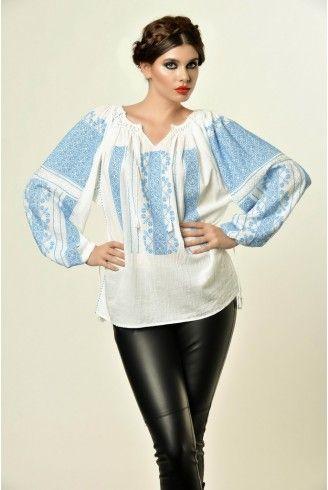 Ie Traditionala Romaneasca Maneca Lunga Motivul Altita Bleu