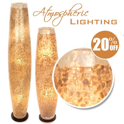 These stunning fair trade floor lamps are hand crafted using recycled eggshells against a fibreglass body to create a fabulous mosaic type finish. Available in 2 sizes, they currently have 20% off until 24 October 16. For more information, visit our special offers page at https://fairtradelifestyle.co.uk/Special_Offers