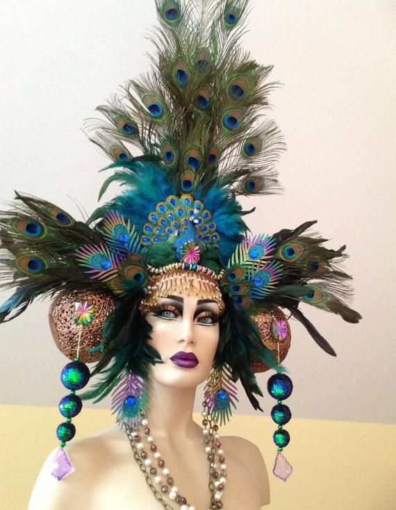 Peacock Fantasy Woodland fairy nymph goddess headdress headpiece gaga steampunk burlesque