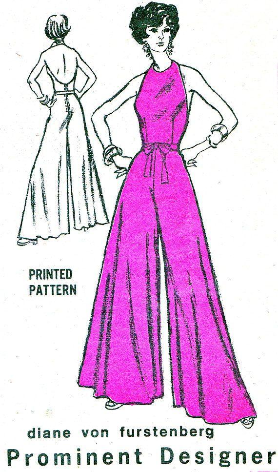 1970s Womens Wide Leg Halter Neck Jumpsuit Mail by paneenjerez, $20.00