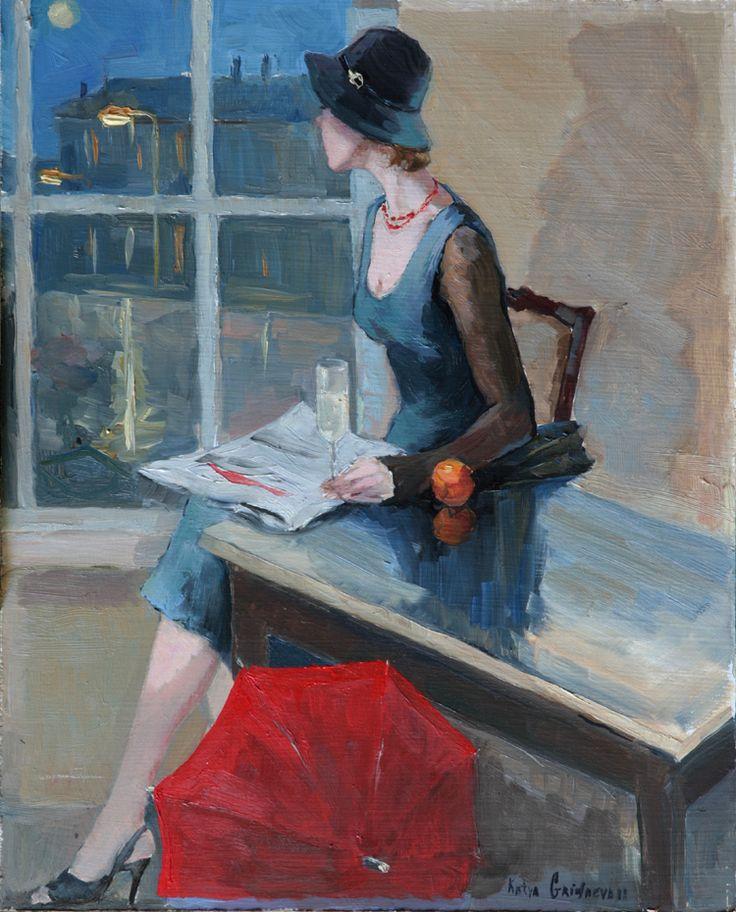 Espera  Katya Gridneva (Ucrânia, 1965)  óleo sobre tela