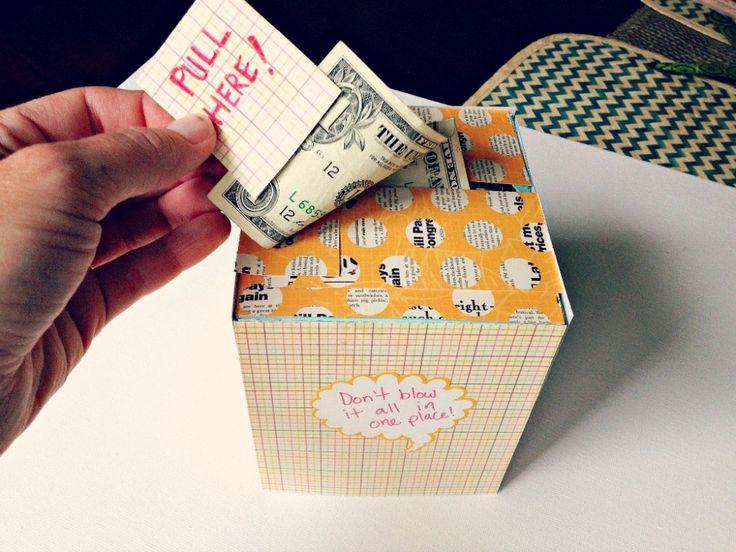 Diy creative way to give a cash gift using a kleenex box