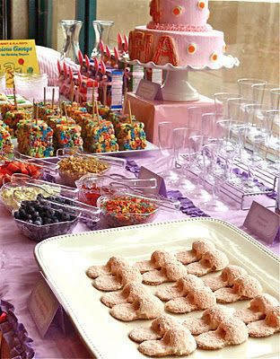 peanut butter fuzzy slipper cookies and fruit loop cereal bars for pajama party