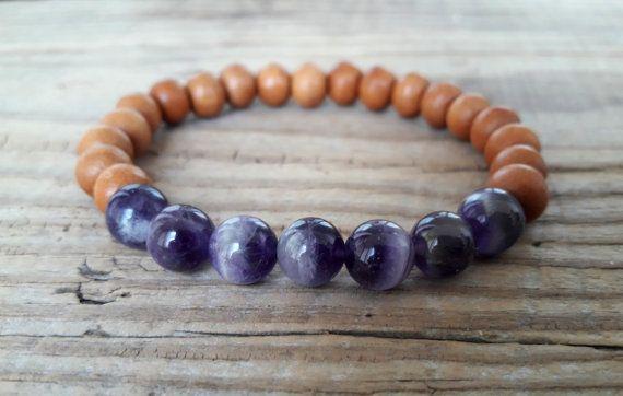 Sandalwood bracelet mala amethyst bracelet power bracelet wood