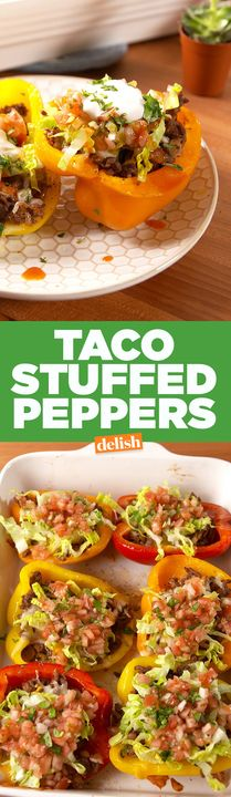 Taco Stuffed Peppers are the low-carb secret to taco night. Get the recipe from Delish.com.