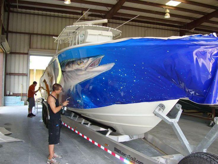 boat wrap in progress Boat & Yacht Wrap Pinterest