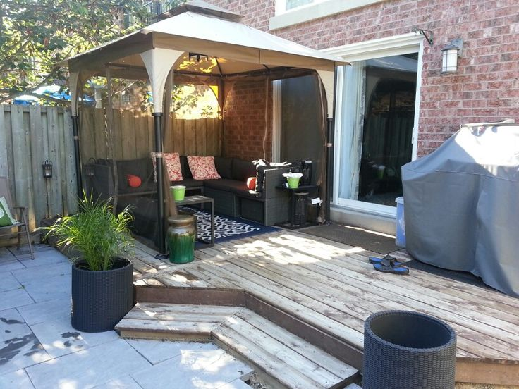 Outdoor gazebo for small yard, Patio Furniture, Patio, Backyard, BackyardOasis, Garden, Decks, Small Backyard, Small Yard, Barbecue, Plants, Gazebo, Fence, outdoorspace