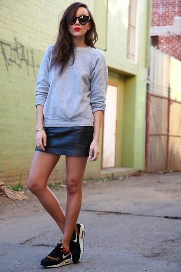 Leather skirt, sweat shirt, sneakers