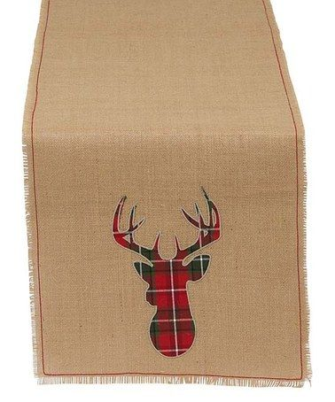 Look what I found on #zulily! Holiday Stag Appliqué Burlap Table Runner #zulilyfinds