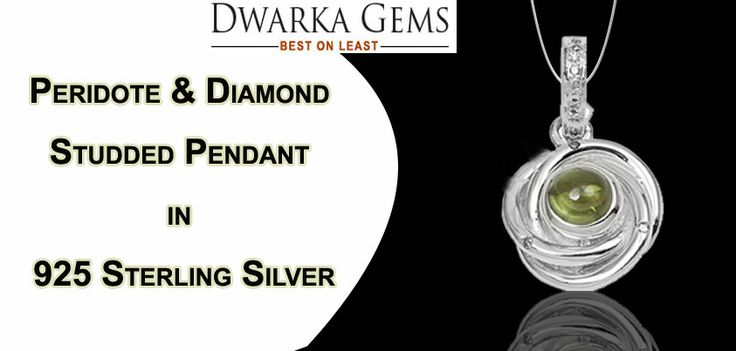 Visit Dwarka Gems Website And Buy Peridote & Diamond Studded Pendant in 925 Sterling Silver at low cost.