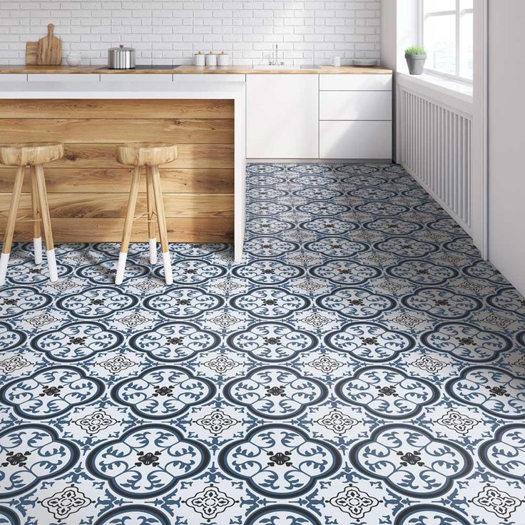 IVC Soho Blue and Grey 13.2 ft. Wide Residential Vinyl