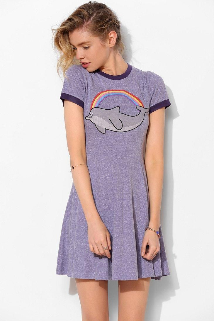 Lazy Oaf Dolphins Are Fun Fit + Flare Tee Dress