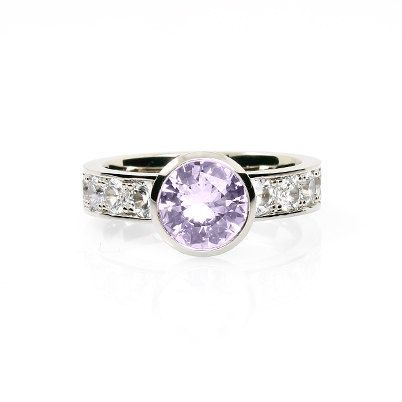 Bezel engagement ring with light purple amethyst and white sapphires by TorkkeliJewellery, $2390.00