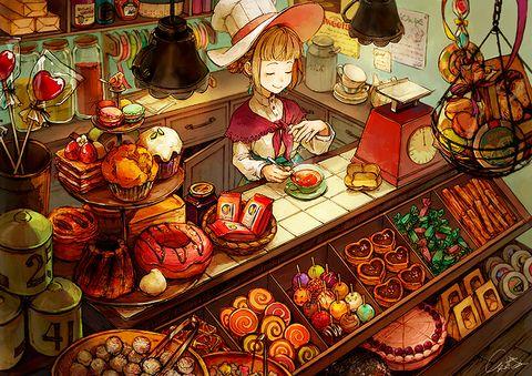 知る人ぞ知る魔女のお菓子屋さん。美味しい紅茶とお菓子で魔法のようなひと時を。 落ち込んだ時も、彼女の紅茶とお菓子をいただくと不思議と元気になるんです。  bkmコメありがとうございます!
