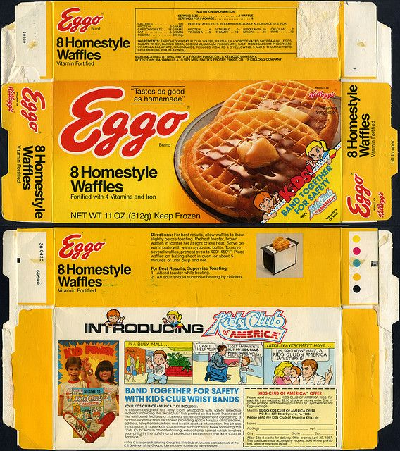 Kellogg's Eggo Waffles Box back | Eggo - Homestyle Waffles box - Kids Club of America mail-away - 1986 ...