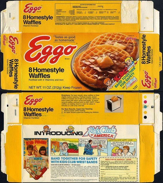 Kellogg's Eggo Waffles Box back | Eggo - Homestyle Waffles box - Kids Club of America mail-away - 1986 ...