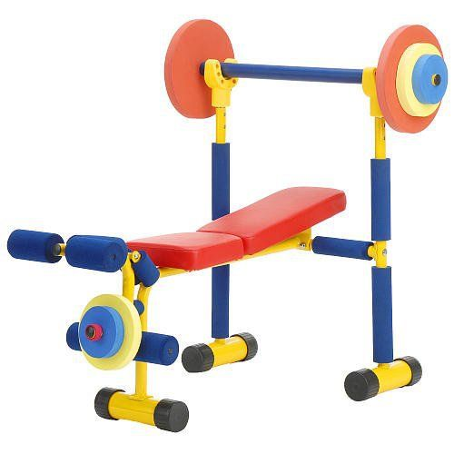 Redmon Fun and Fitness Exercise Equipment for Kids - Weight Bench Set - http://www.exercisejoy.com/redmon-fun-and-fitness-exercise-equipment-for-kids-weight-bench-set/fitness/