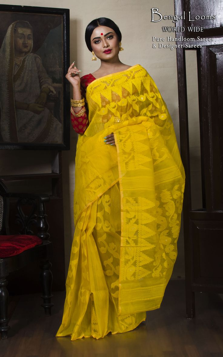 Self Work Dhakai Jamdani Saree in Yellow