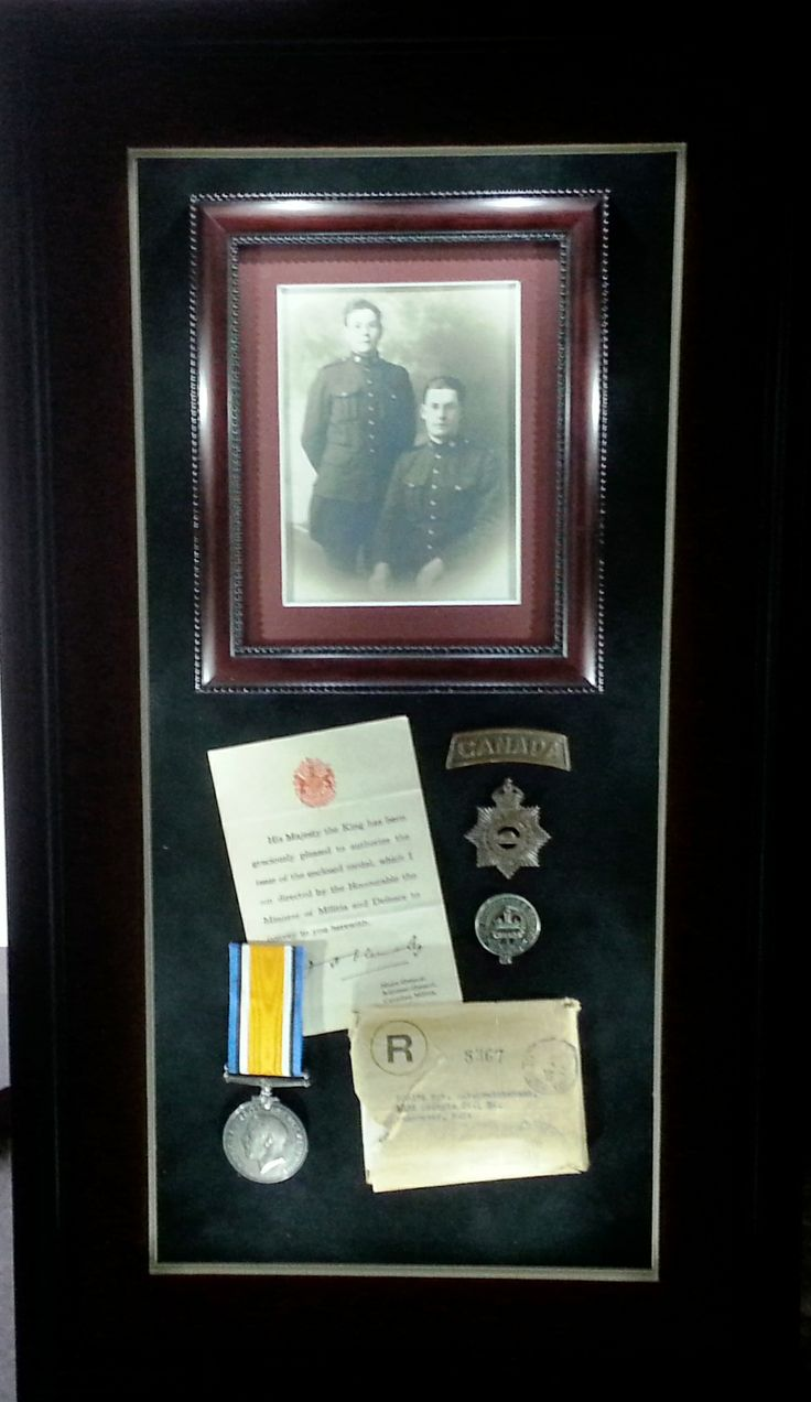 Ralph and Walker Cruickshank 1917. Medal to Sergeant R.F. Cruickshank Canadian Army Service Corps. LED Shadow Box with hinged front.