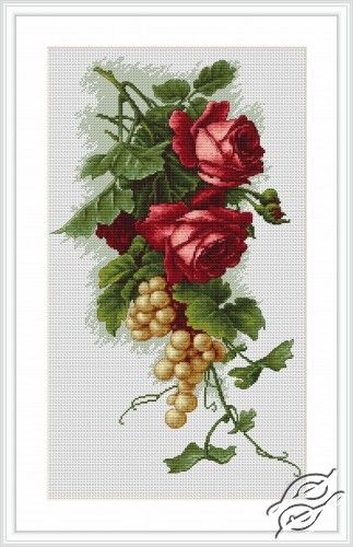 Red Roses and Grapes - Cross Stitch Kits by Luca-S - B2229