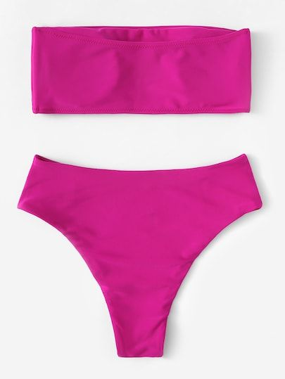 563ac4de521 Neon Pink Bandeau With High Cut Bikini Set [swimwear180914605] - $26.00 :  moonbaye.com