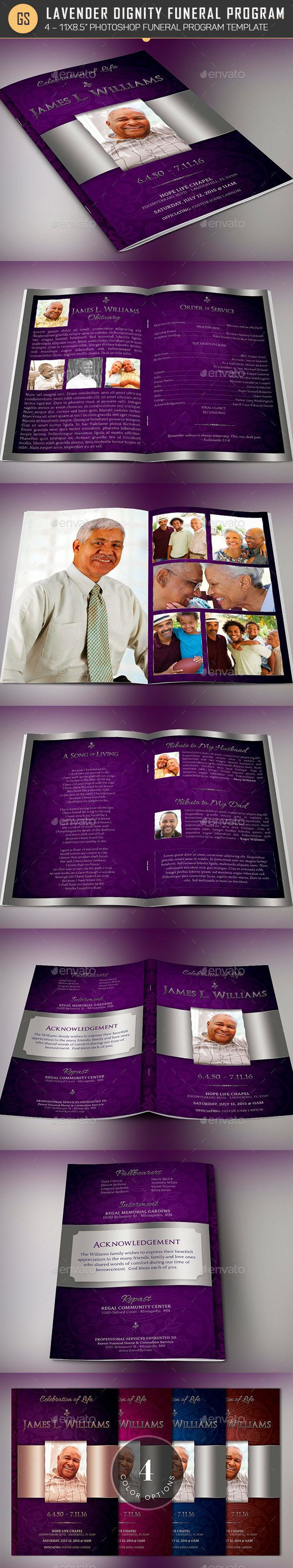 Lavender Dignity Funeral Program Template - Informational Brochures