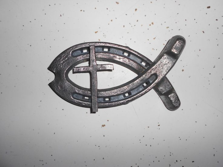 Things to do with an old horse shoe and a piece of welding rod, make a Christian Fish...