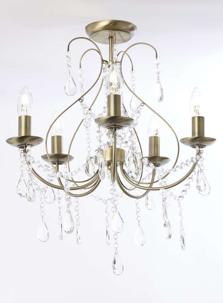 Antique Brass Sapparia Flush Chandelier