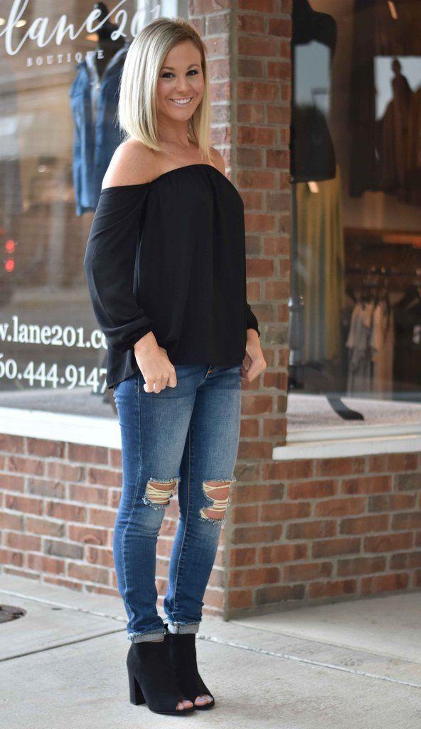 Black Off The Shoulder Top | Lane 201 Boutique