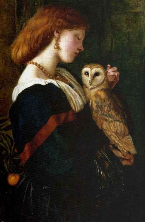 Pre Raphaelite Art: Valentine Cameron Prinsep - Il Barbagianni (The Owl) 1863
