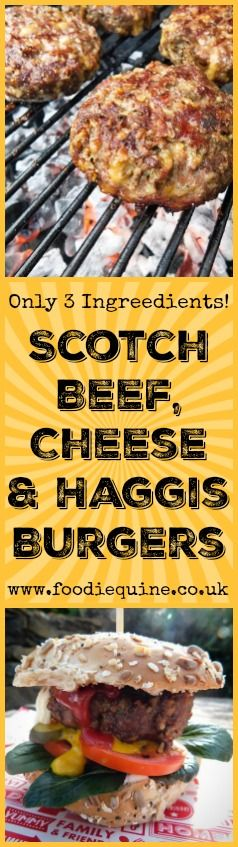 www.foodiequine.co.uk Only three ingredients yet full of flavour. Scotch Beef, Mature Cheddar Cheese and Haggis combine to create a succulent burger that is undoubtedly greater than the sum of it's parts.