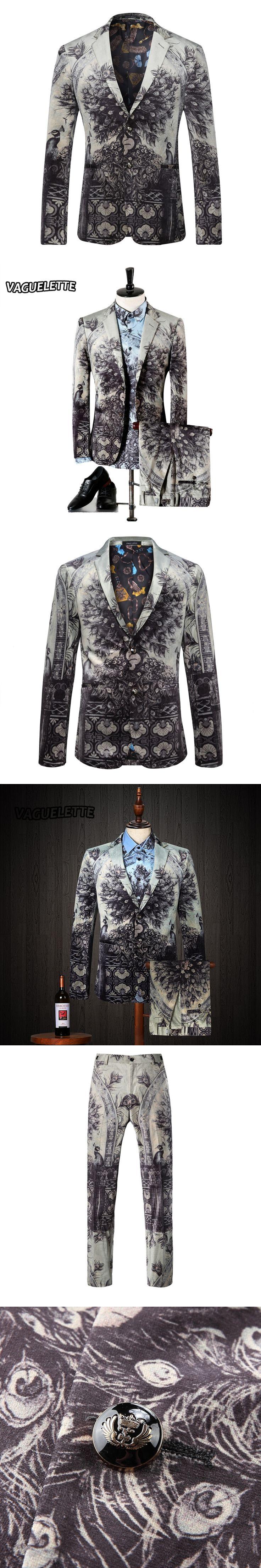 Light Grey Slim Fit Suits For Men Peacock Parrot Pattern Stage Wear Vintage Wedding Mens Skinny Suit M-3XL (Blazer+Pants+Shirts)