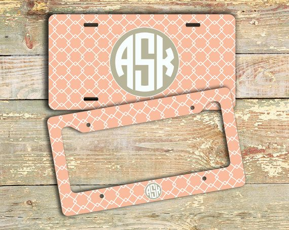 Preppy monogrammed license plate or frame Coral by ToGildTheLily, $12.99