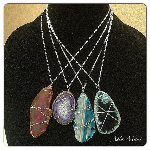 Agate slice wire wrapped stone necklace, agate stone ...