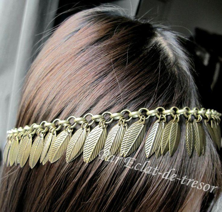 Headband style Pocahontas plumes bronze via Eclat de tresor. Click on the image to see more!