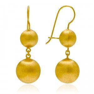 Matt Golden Ball Chain Earrings - MettaGems | Natural Gemstone Jewelry, Direct from manufacturers  18K Solid Gold