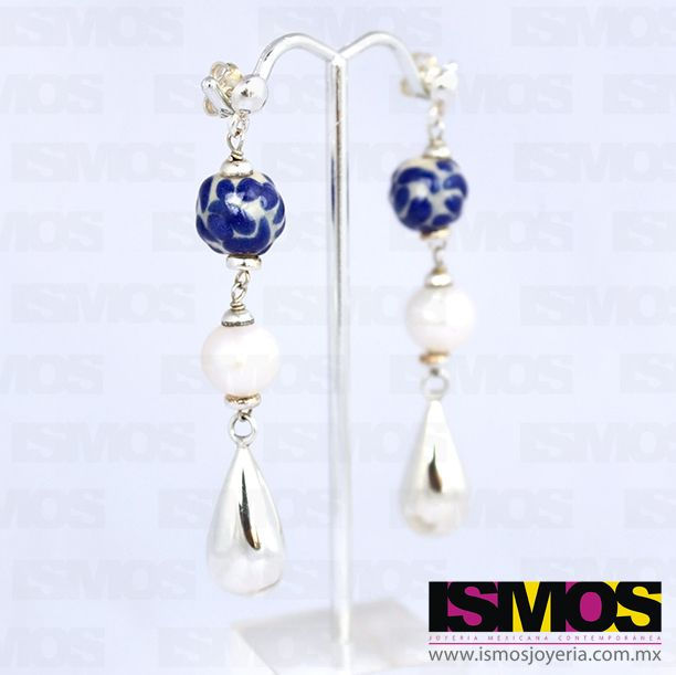 "ISMOS Joyería: aretes de plata, talavera y perla // ISMOS Jewelry: silver, ""talavera"" and pearl earrings"