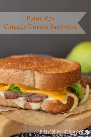 Prime Rib Grilled Cheese is not only my favorite way to use up left over prime rib, it's the ultimate in grilled cheese!  Little Dairy on the Prairie