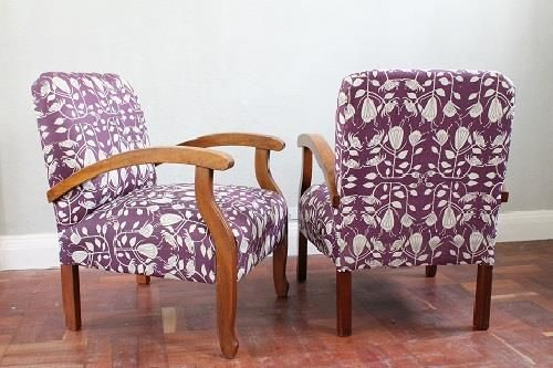 Reupholstered vintage chairs in South African Fabric - Maradadhi Protea www.recreate.za.net