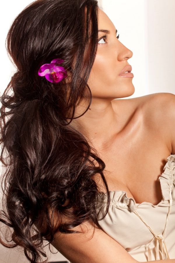 beach waves hair with flower - Google Search