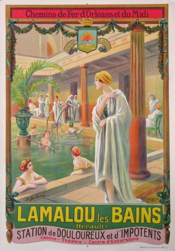 AFFICHE-ANCIENNE-LAMALOU-LES-BAINS-CH-DE-FER-DORLEANS-ET-DU-MIDI-DE-BELON-1920