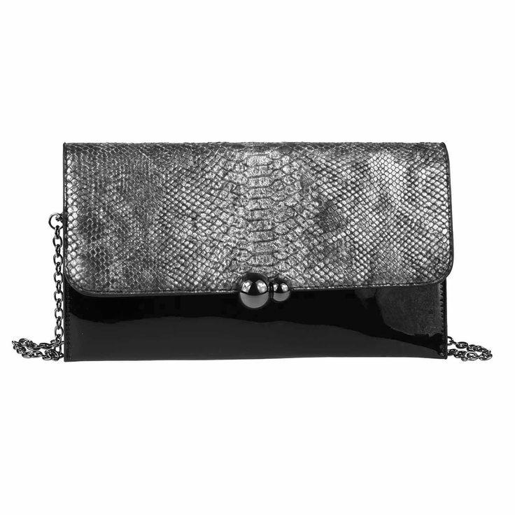 DAMEN ABENDTASCHE CLUTCH POCHETTE Umschlag-Tasche Reptilprägung Kettentasche Unterarmtasche Handtasche Schultertasche Umhängetasche Silber