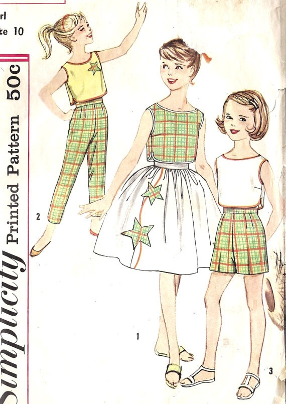 960s Girls Sleeveless Top, Shorts, Pants and Skirt Vintage Sewing Pattern, Simplicity 3494 girls size 10: Vintage Sewing Patterns, Sleeveless Tops