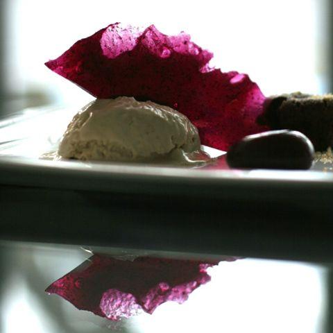 dessert this stunning futuristic dessert plate features molten chocolate cake salted butterscotch icecream and