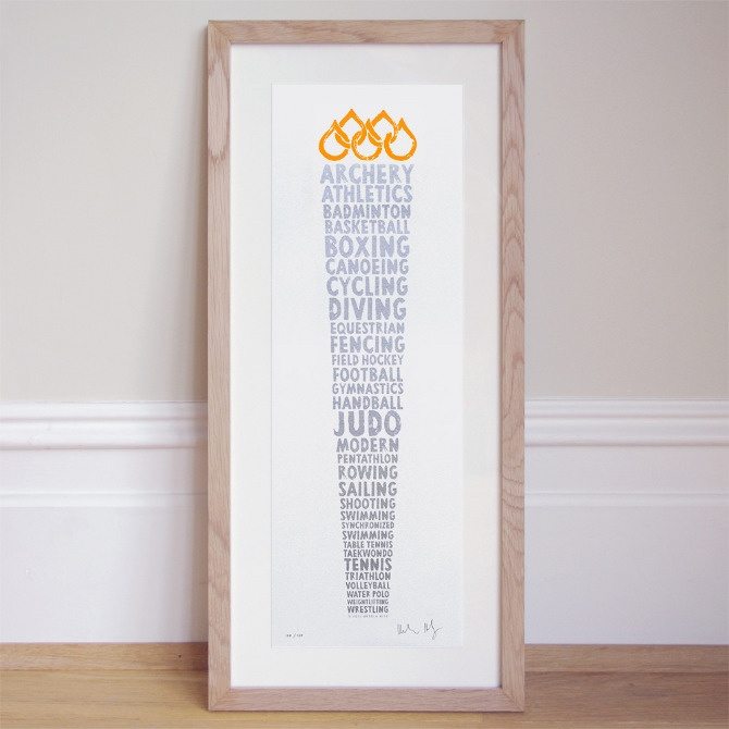Olympic Torch - Names of olympic disciplines forming the games torch.    details  • limited color edition of 100  • silver/orange  • 17.5 cm x 52 cm  • signed and numbered by the artist  • bespoke framing recommended, example framed in untreated oak    £58