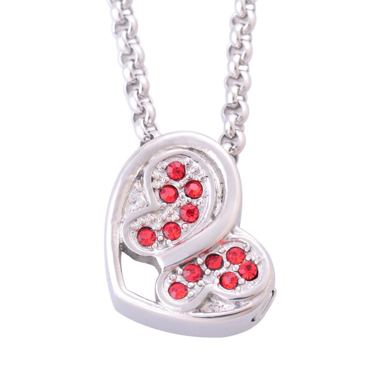 >> Click to Buy << Fashion Women's Stainless Steel Red Stones Butterfly Heart Pendant Necklaces Cremation Jewelry Ash Urns Necklaces Memorial IR222 #Affiliate